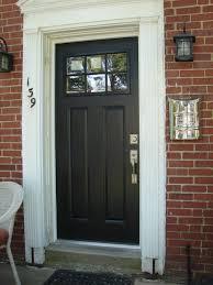 nice front doorsSolid Black Wooden Craftsman Front Door With Door Knob And Nice