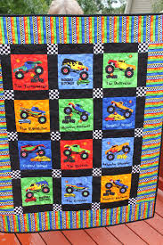 Monster Truck Quilt Minking Red Backing by MeandMomQuilt on Etsy ... & Monster Truck Quilt Minking Red Backing by MeandMomQuilt on Etsy Adamdwight.com