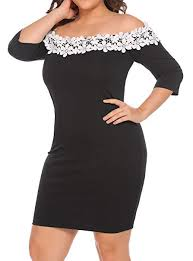 Involand Womens Plus Size Lace Crochet Off Shoulder Casual Dress Half Sleeve Pencil Dress
