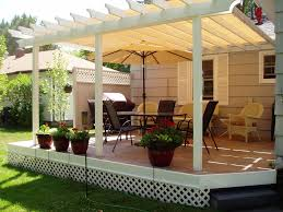 Pergola With Canopy Awesome Construction Design White Stained Finish Wooden  Posts Crossbeams Rafters Cream Fabric Roof Cover Verandah Patio Decoration
