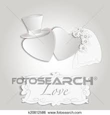 Romantic Vintage Style Wedding Invitation Post Card With Heart Couple As Bride And Groom And Copy Space For Text Vector Eps10 Illustration Clip Art