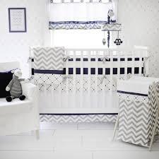 navy and grey chevron crib bedding set