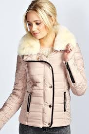 cara faux fur collar padded jacket beige beige ping women s fashion men s fashion technology homeware dress shirt shoes watches