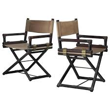 pair of wood leather and brass directors chairs folding directors chair pair of wood leather and brass directors chairs for furniture tall metal