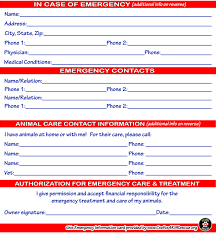 Emergency Card Template Emergency Information Card Template Crafts4k9rescue