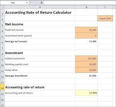 accounting rate of return calculator v 1