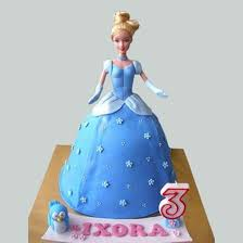 Blue Fondant Barbie Cake Chocolate Online Cake Delivery Birthday