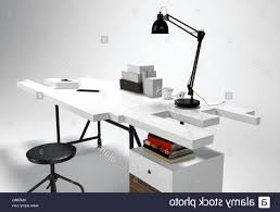 futuristic office desk. Photo 7 Of 8 White Modern Office Desk Concept With Lamp, Round Stool. Futuristic Furniture 3D Isolated H