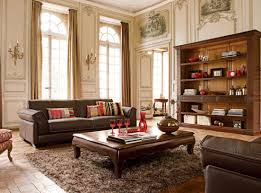 Living Room With Brown Leather Sofa Standing Lamp Brown Modern Sofa Cushions Flower Vase Sofa Table