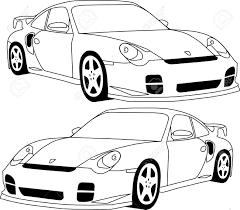 Porsche 930 blueprint line drawing vector download