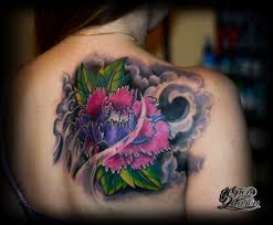 татуировка пион в японском стиле тату салон юрец удалец