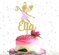 Personalize Any Name Number Fairy Girl Birthday Cake Topper