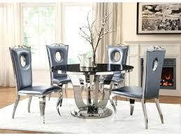 glass and chrome table black tempered glass chrome round dining table set modern rectangle glass and
