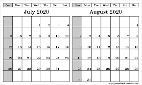 Blank Two Month July August 2020 Calendar Printable Template