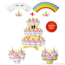 Rainbow Unicorn Cupcake Toppers And Wrappers W Bonus Gold Cupcake