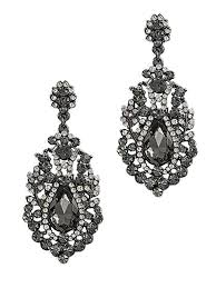 antique style hematite crystal rhinestone drop earrings blue long black chandelier