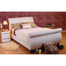 sweet dreams super king size 6ft white faux leather sleigh bed frame home done