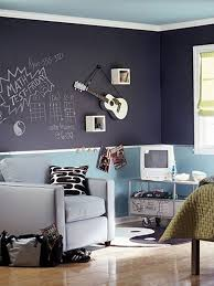 Painting Bedrooms Two Colors Black And Soft Blue Wall Color For Charming Bedroom For Teen Using