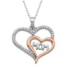paj sterling silver two tone mom rose gold plated double heart pendant image zoomed image