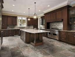 Marble Kitchen Flooring Stone Kitchen Flooring Rustic Style Dark Brown Cabinets And Island