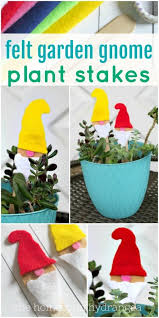 easy diy felt garden gnome plant stakes