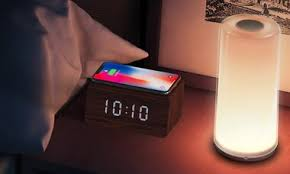 Multi-function <b>Alarm</b> Clock BenchMart Wireless Charger & <b>Wooden</b> ...