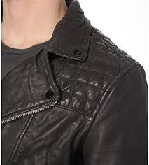 mens allsaints conroy leather biker jacket in ink allsaints coats jackets