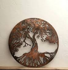 tree of life metal wall art decor sculpture 31 x 29 acrylic crystal antiqued round circle