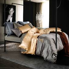 luxury le style duvet cover set golden silver linens silk bamboo fiber queen king size bedding