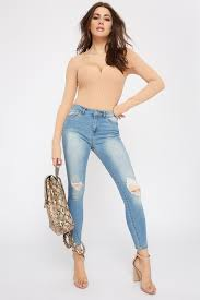 Light Wash Distressed Skinny Jeans Low Rise Push Up Light Wash Distressed Skinny Jean Medium Blue 0