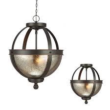 sea gull lighting sfera autumn bronze two light semi flush convertible pendant with mercury glass