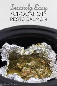 insanely easy crockpot pesto salmon