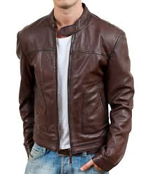 more views brownish men classic leather jackets