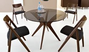Dining Room:Small Modern Round Glass Top Dining Table Wooden Leg Black  Leather Dining Chair
