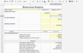 Break Even Template Break Even Analysis Using Free Templates