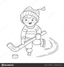 Kleuren Pagina Overzicht Van Cartoon Jongen Spelen Van Hockey