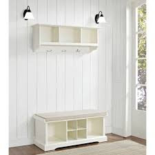crosley furniture brennan white 2 piece entryway bench and shelf set the simple stores white entryway furniture n71 furniture