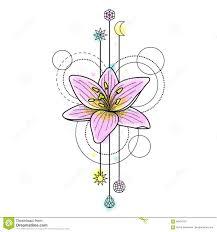 абстрактная татуировка лилии акварели иллюстрация вектора