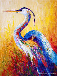 2019 yj art steady gaze great blue heron unframed modern canvas wall art for home and office decoration animal frame painting mrr163 from youmeart