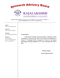 Congratulations Letter Awesome Congratulations Letter From Research Advisory Board Of Rec