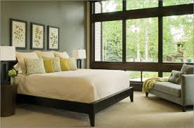 Beautiful Calming Bedroom Colors With Black Wooden Master Bed