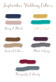 Wedding Color Chart Top 5 Fall Wedding Colors For September Brides