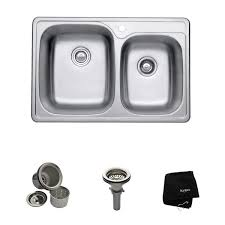 kraus 33 inch topmount 60 40 double bowl 18 gauge stainless steel kitchen sink