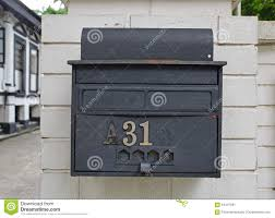 Designer Post Box Retro Looking Rustic Outdoor Wall Attached Letter Box Stock