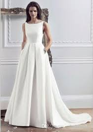 2016 new style custom made satin simple wedding dresses with