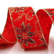 Poinsettia Velvet Ribbon Supply Mit Textur Glanz Und