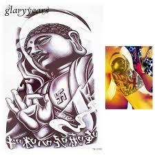 1 шт цветок рука боди арт наклейки эскиз татуировки будда тотем дизайн временная
