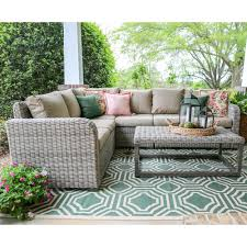 leisure made forsyth 5piece wicker outdoor sectional set with tan cushions outdoor sectional a11 outdoor