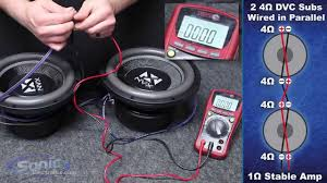 how to wire two dual ohm subwoofers to a ohm final impedance how to wire two dual 4 ohm subwoofers to a 1 ohm final impedance car audio 101