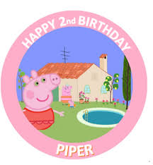 Details About Peppa Pig Birthday Personalised Edible Icing Cake Topper Decoration Images